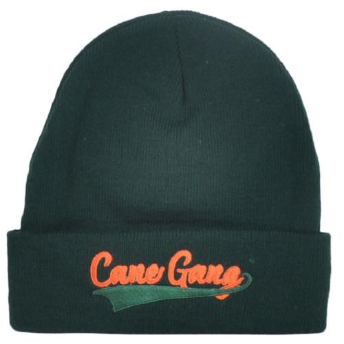 NCAA Miami Hurricanes Canes Gang Dark Green Sports Cuffed Knit Beanie Hat Winter