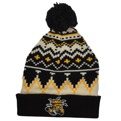 NCAA Adidas Wichita State Shockers KZT47 Nordic Pom Pom Cuffed Knit Beanie Hat