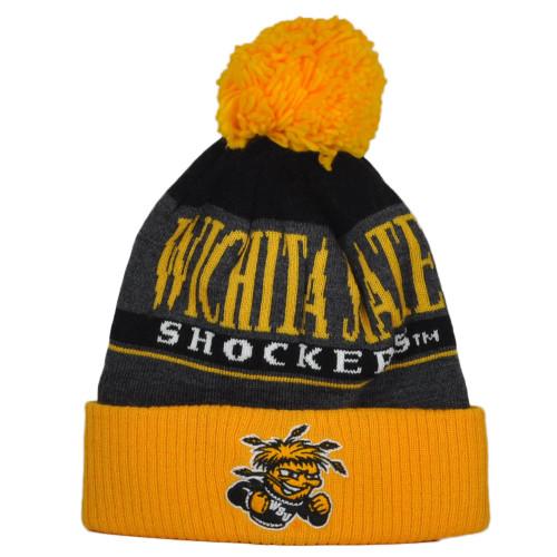 NCAA Adidas Wichita State Shockers KZT46 Tricolor Pom Pom Cuffed Knit Beanie Hat