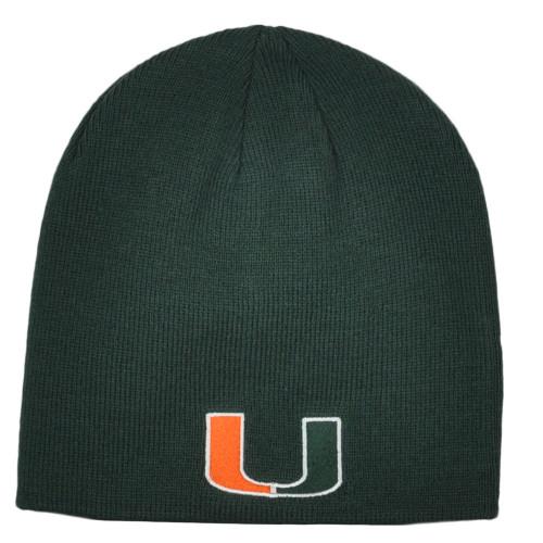 NCAA OTS Miami Hurricanes Dark Green Sports Cuffless Knit Beanie Hat Winter