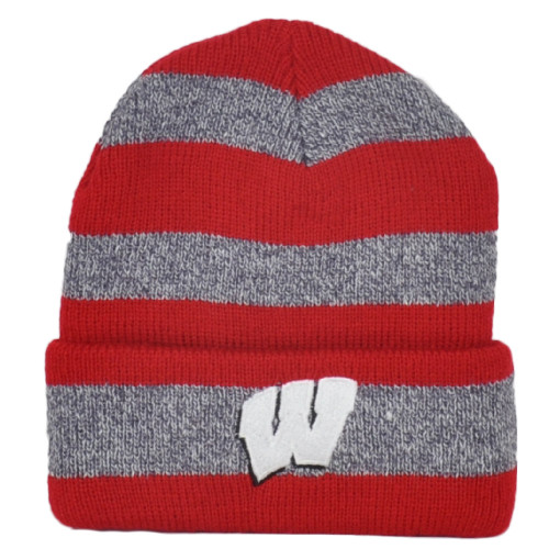 NCAA Captivating Headgear Wisconsin Badgers Striped Sport Cuffed Knit Beanie Hat