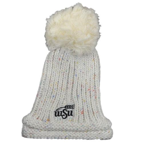 NCAA Adidas Wichita State Shockers KWT45 White Pom Pom Cuffed Knit Beanie Hat