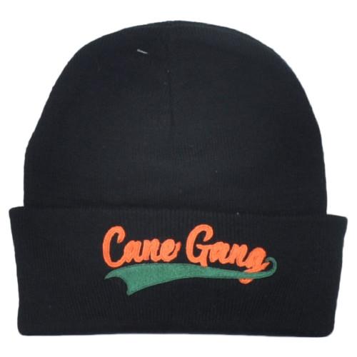 NCAA Miami Hurricanes Canes Gang Black Sports Cuffed Knit Beanie Hat Winter