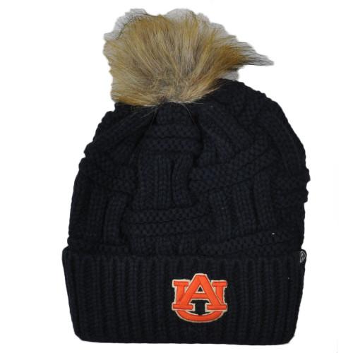 NCAA Zephyr Auburn Tigers Crochet Blue Navy Thick Pom Pom Cuffed Knit Beanie Hat