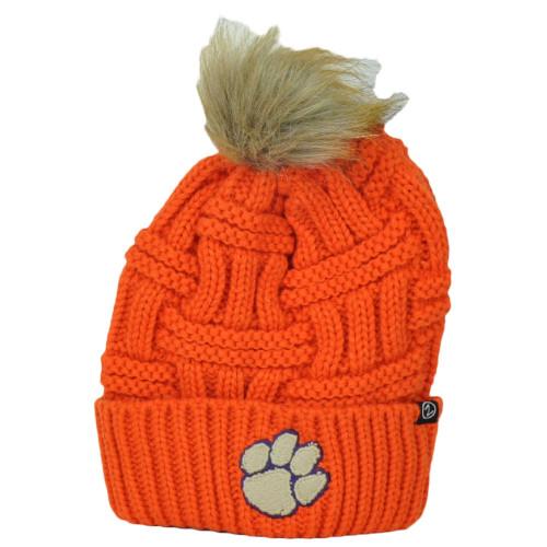 NCAA Zephyr Clemson Tigers Thick Orange Crochet Pom Pom Cuffed Knit Beanie Hat