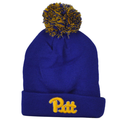 NCAA Zephyr Pittsburgh Panthers Winter Sports Pom Pom Cuffed Knit Beanie Hat
