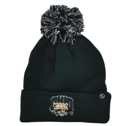 NCAA Zephyr Ohio Bobcats Depot Green Winter Sport Pom Pom Cuffed Knit Beanie Hat