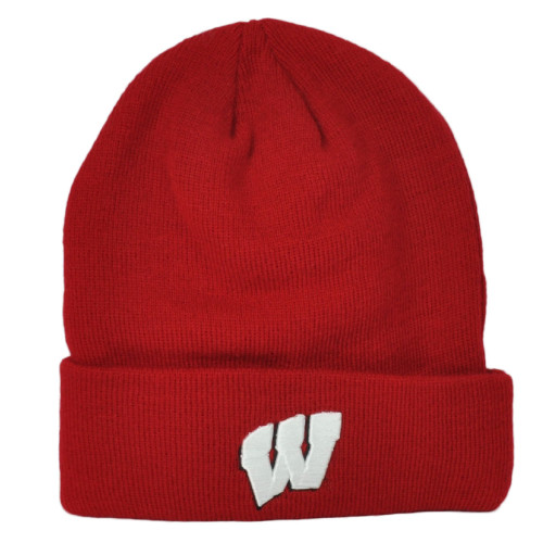 NCAA Zephyr Wisconsin Badgers Red Cuffed Knit Beanie Hat Winter One Size Toque