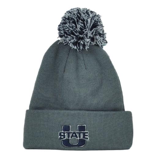 NCAA Zephyr Utah State Aggies Gray Winter Sports Pom Pom Cuffed Knit Beanie Hat