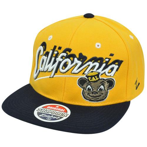 NCAA Cal Berkeley Golden Bears Zephyr Shadow Script Flat Bill Snapback Hat Cap