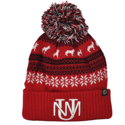 NCAA Zephyr New Mexico Lobos UNM Sports Pattern Pom Pom Cuffed Knit Beanie Hat