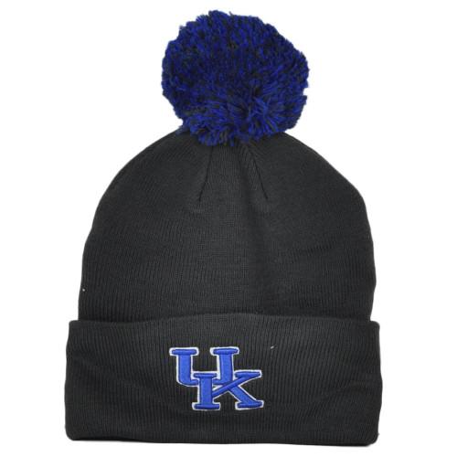 NCAA Zephyr Kentucky Wildcats Gray Winter Sports Pom Pom Cuffed Knit Beanie Hat