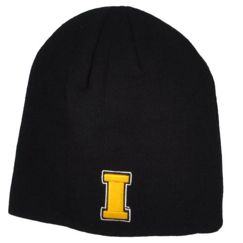 NCAA Zephyr Iowa Hawkeyes Black Cuffless Knit Beanie Hat Winter Skully Toque