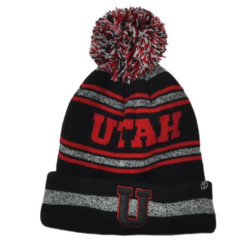 NCAA Zephyr Utah Utes Black Red Sports Stripes Pom Pom Cuffed Knit Beanie Hat