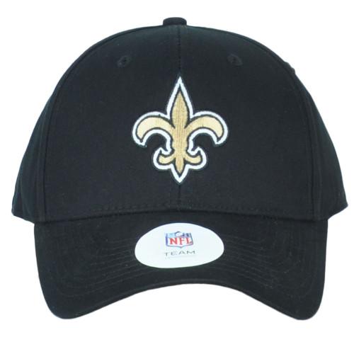 NFL New Orleans Saints Black Structured Curved Bill Adjustable Hat Cap Unisex
