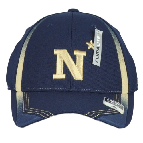 NCAA Adidas Navy Midshipmen Structured Flex Fit Adults Curved Bill Hat Cap