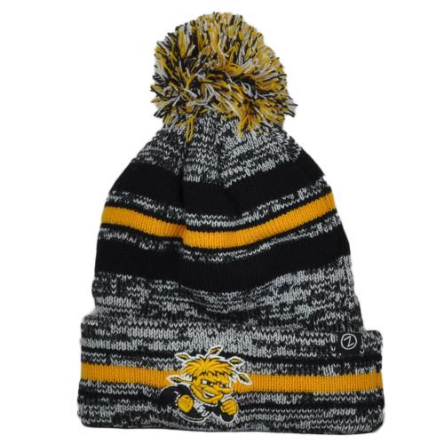 NCAA Zephyr Wichita State Shockers Sports Stripes Pom Pom Cuffed Knit Beanie Hat