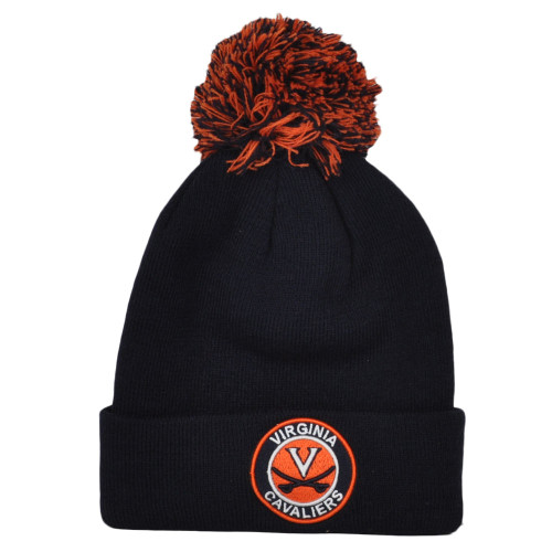 NCAA Zephyr Virginia Cavaliers Blue Navy Pom Pom Cuffed Knit Beanie Winter Hat