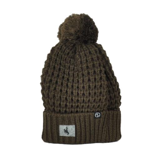 NCAA Zephyr Wyoming Cowboys Brown Sports Crochet Pom Pom Cuffed Knit Beanie Hat