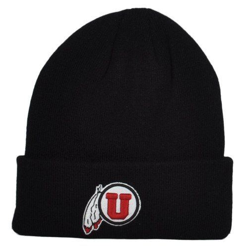 NCAA Zephyr Utah Utes Black Fan Up Cuffed Knit Beanie Hat Winter Toque Skully