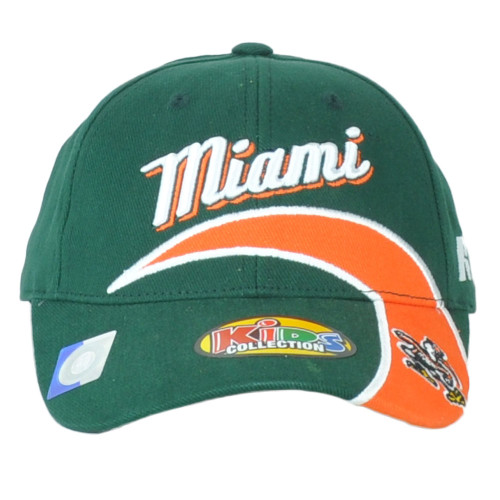NCAA Russell Miami Hurricanes Green/orange Adjustable Youth Kids Collect Hat Cap