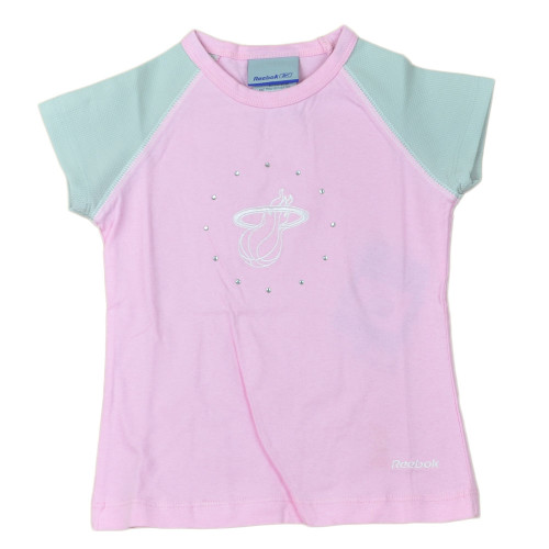 NBA Miami Heat Logo Basketball Pink Gray Crew Neck Tshirt Tee Kids Girls Size