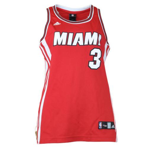 NBA Adidas Miami Heat Dwyane Wade #3 Jersey Red Tank Top Basketball Womens Ladie