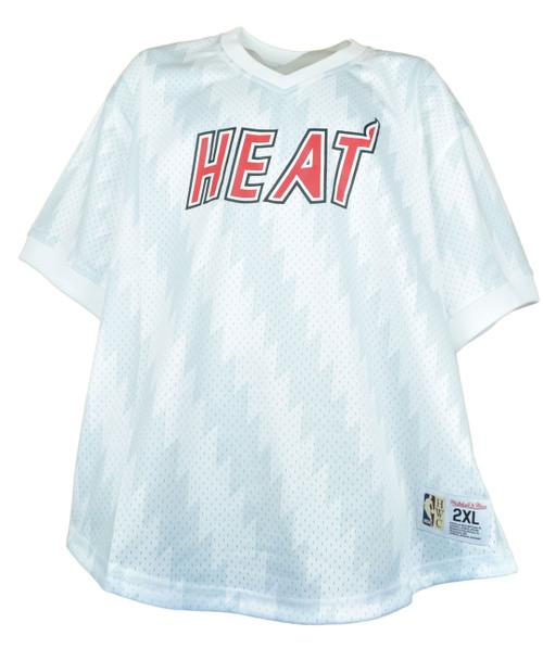 NBA Mitchell & Ness Miami Heat White Jersey V-Neck Adults Basketball Mens Size