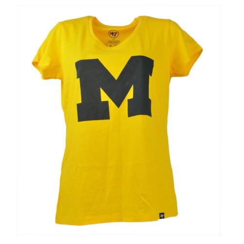 NCAA Michigan Wolverines Womens Tshirt  Short Sleeve Yellow Tee Crew Neck