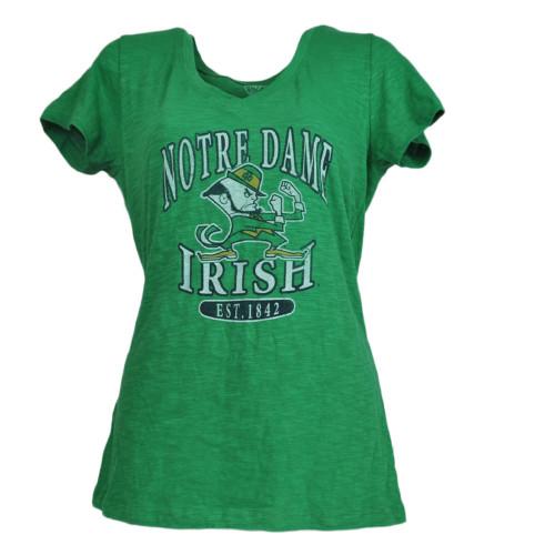 NCAA Notre Dame Fighting Irish Green Womens Tshirt Tee V-Neck Short Sleeve