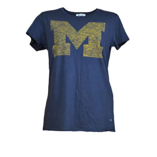 NCAA Michigan Wolverines Womens Tshirt  Short Sleeve Navy Blue Crew Neck