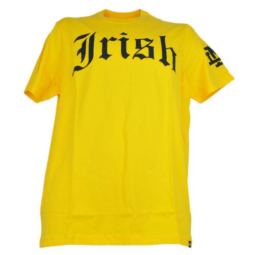 NCAA Notre Dame Fighting Irish Yellow Mens Tshirt Crew Neck Tee Short Sleeve