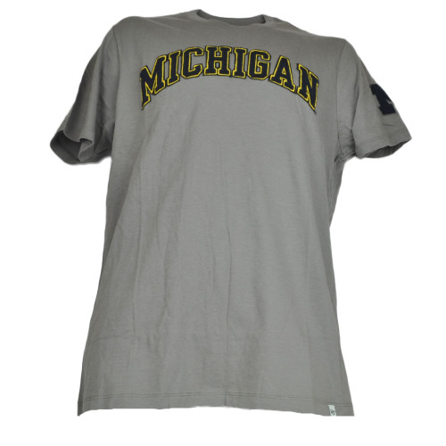 NCAA Michigan Wolverines  Mens Gray Tshirt Crew Neck Tee Short Sleeve