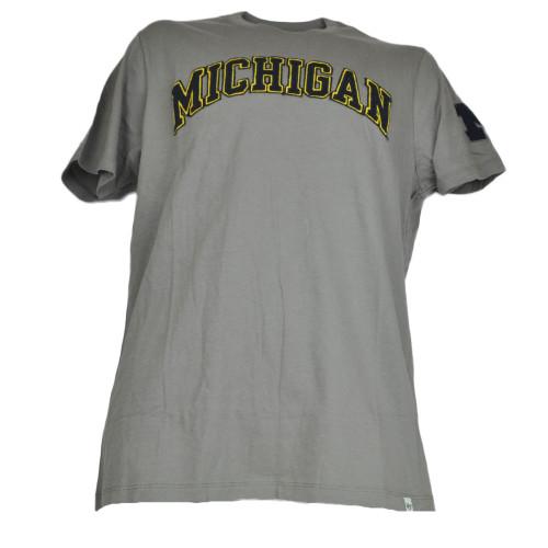 NCAA Michigan Wolverines  Mens Gray Tshirt Crew Neck Tee Short Sleeve