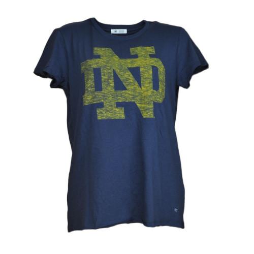 NCAA Notre Dame Fighting Irish Navy Womens Tshirt Crew Neck Short Sleeve