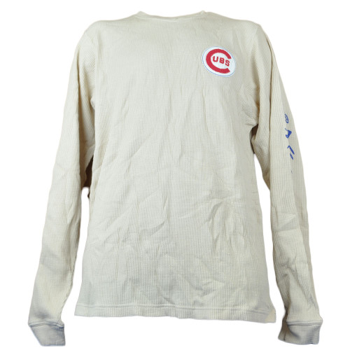 MLB Red Jacket Chicago Cubs Thermal Beige Long Sleeve Size  Men Adults Tshirt