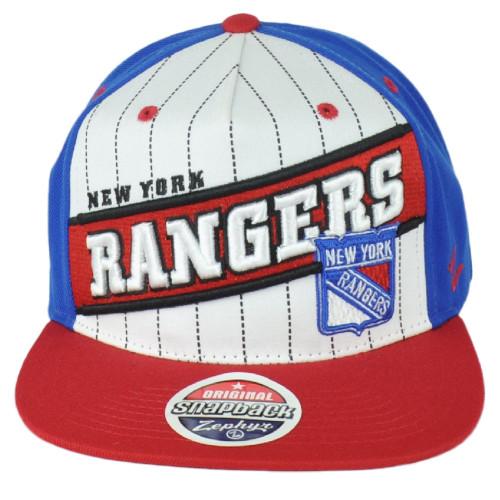 NHL Zephyr New York Rangers Adjustable Snapback Flat Bill Adult Men Hat Cap