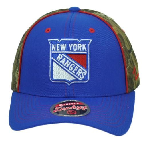NHL Zephyr New York Rangers Adjustable Snapback Curved Bill Camo Men Hat Cap