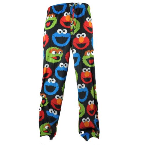 Sesame Street Cookie Monster Blue Plaid PJ Pants Pajamas Long Fleece Mens Elastic