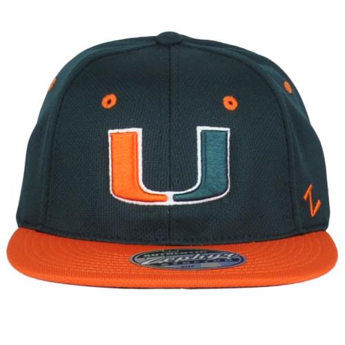 NCAA Zephyr Miami Hurricanes Youth Kids Hat Cap Stretch Green Orange Flat Bill