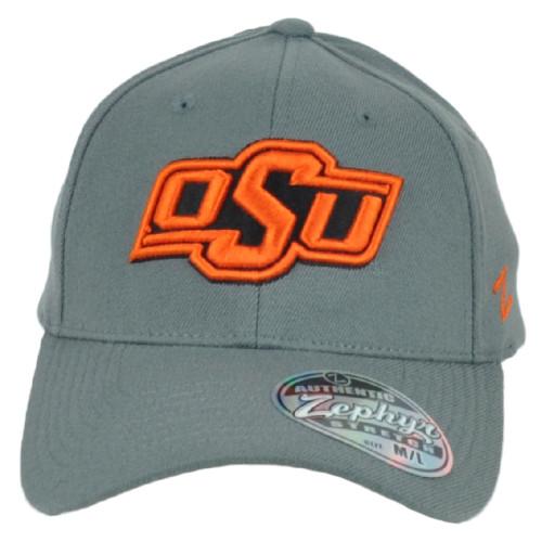 NCAA Zephyr Oklahoma State Cowboys OSU Flex Fit Stretch X-Large Gray Hat Cap
