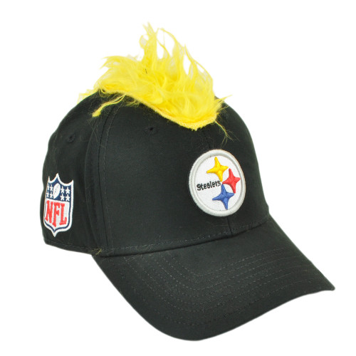 NFL Pittsburgh Steelers Spike Mohawk Flair Hair Stretch Flex Fit S/M Hat Cap