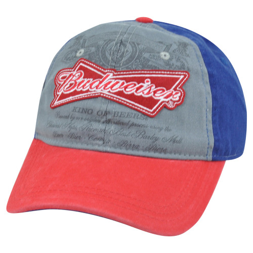 c3dac7acf6f32 Budweiser Distressed Snapback King of Beer Liquor Garment Wash Relaxed Hat  Cap