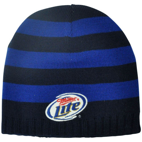 95a3f55cfc95c Miller Lite Striped Beanie Beer Knit Winter Navy Alcohol Cuffless Toque Hat