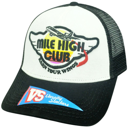 d30ab89f2bcaf Mile High Club Earn Your Wings Mesh Snapback Mesh Airplane Two Tone Hat Cap