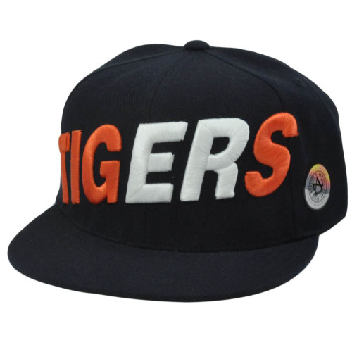 HAT CAP DETROIT TIGERS MLB FLAT BILL FITTED SIZE 7 1/2 NAVY BLUE AMERICAN NEEDLE