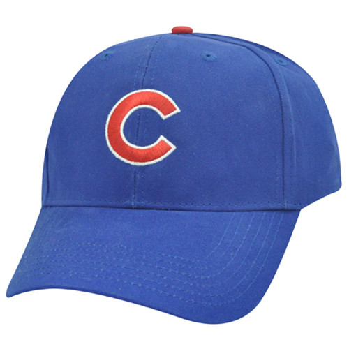 MLB Chicago Cubs Basic Structured Blue Red Baseball Cotton Hat Cap Licensed