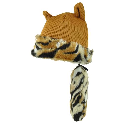 Fox Tail Crockett Hat Detachable Plain Animal Faux Fur Knit Beanie Fleece Brown