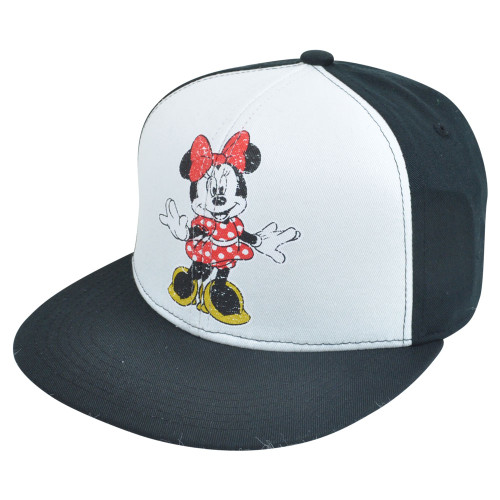 Disney Minnie Mouse Distressed Retro Flat Bill Two Tone Snapback White Hat Cap