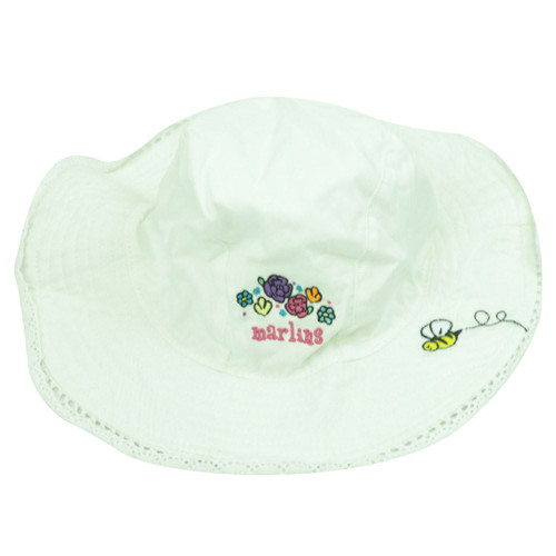 MLB New Era Florida Marlins Infant Baby Youth Soft White Cotton Sun Hat Lace